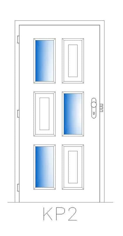 Příklad prosklení bezpečnostních dveří v kombinaci s kazetou